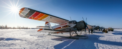 Life in the north, a small plane in the Arctic Circle in Russia